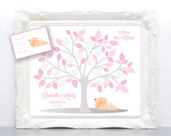 BAPTISM Guest Book 11x14 Sign-In Tree - Christening or Baby Dedication Guest Book Alternative - 50 leaves - Other colors- READ DESCRIPTION!