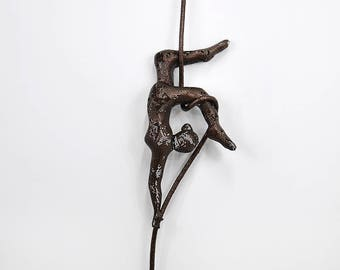 Acrobat on aerial rope, Metal wall art sculpture, Acrobat sculpture, Female sculpture, interior design, Sports decor