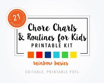 Printable Chore Charts & Routines for Kids - Rainbow Basics