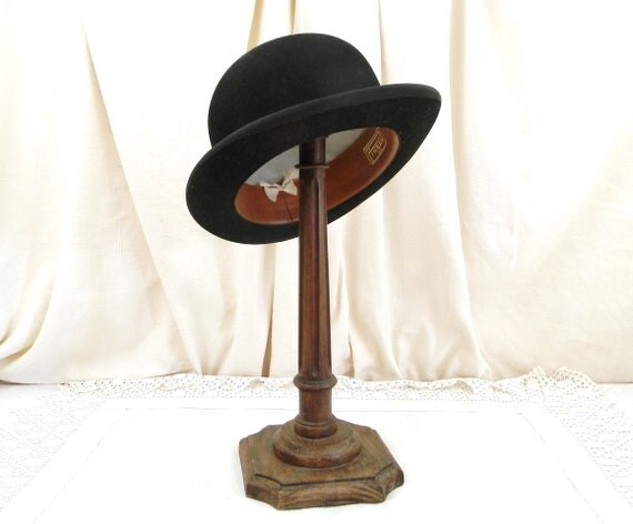 Antique French Barely Used Black Woolen Felt Bowler Hat made by Pineau in Paris, Original Head Wear from France, Brocante Vintage Clothing