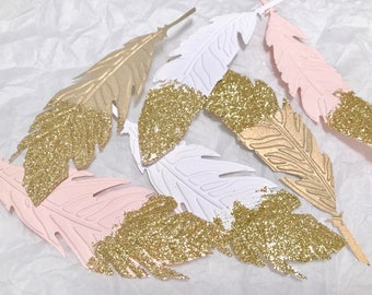 """5"""" Boho Feathers Gold Dipped, Glitter Gold Dipped Feathers"""