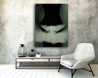 Black and White Canvas Art Modern Print Ballerina print Ballet Art Stretched Wall Art Tutu Painting Print