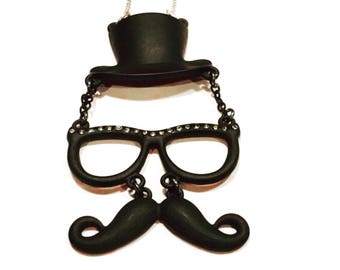 Mustache necklace-mustache hat and glasses pendant-mustache jewelry-whimsical jewelry-gift for her