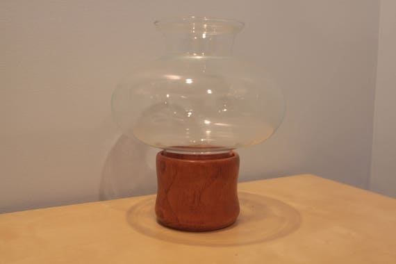Vintage Teak and Glass Hurricane Candle Holder