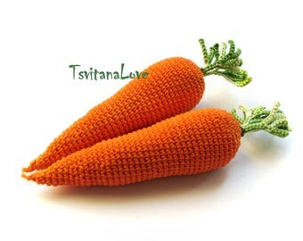 Crochet carrot (1 pc) - Crochet vegetable - Seasons toy - harvest toy - Play food - Crochet Food - play kitchen - Natural materials toys