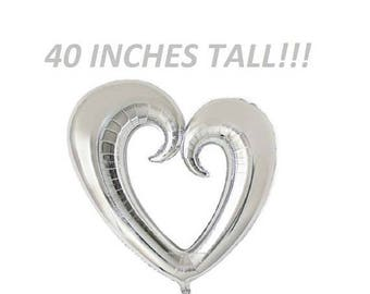 SALE 40 inch SILVER HEART Balloon for Bridal Showers Wedding Decorations Foil Mylar Metallic Helium Balloons