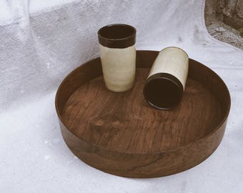 Round Teak Wood Bar Tray