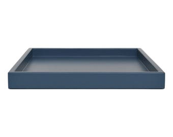 Coffee Table Trays, Large Ottoman Tray, Modern Coffee Table Decor, Lacquer Tray, Oversized Ottoman Tray, Blue Tray for Ottoman