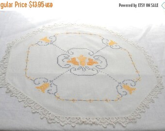 Fall Sale Vintage Tulip Cross Stitch Octagonal Cotton Linen Table Topper Tablecloth