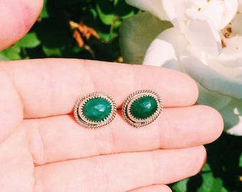 Sterling Silver Genuine Emerald Stud Earrings