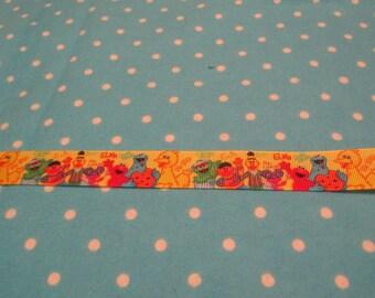 5 Yards 7/8 Inch Yellow Sesame Street Character Blocked  Grosgrain Ribbon