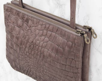 SALE Shoulder bag 'DUO' in taupe croco print leather