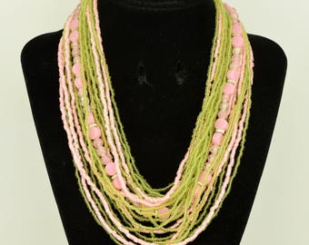 Vintage Necklace Pink & Green Glass Beads 23 Strands 1950s / 60s ~ Lot 1671