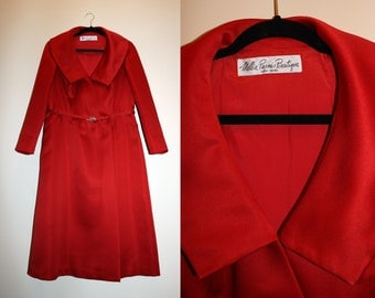 Dramatic Ruby Red Wrap Dress with Jeweled Clasped Belt ||| 1950s ||| Large