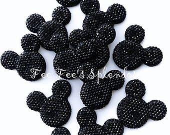 20 pc - Mickey Minnie Mouse Rhinestone flatback * Black * flat back resin