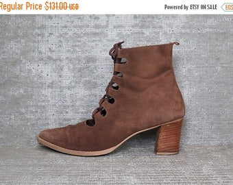 35off Vtg Brown Nubuck Leather Cutout Laceup Boots 9.5