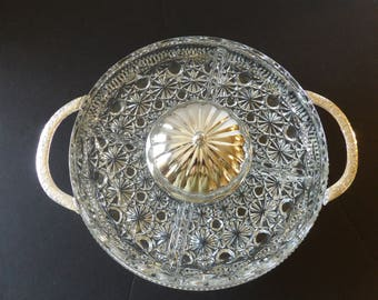 Daisy and Buttons Divided Relish Dish with Stand