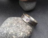 Sparkly pale purple amethyst ring, rustic thick sterling silver band, inset gemstone, abstract textured  imprints band, fits size 9.5