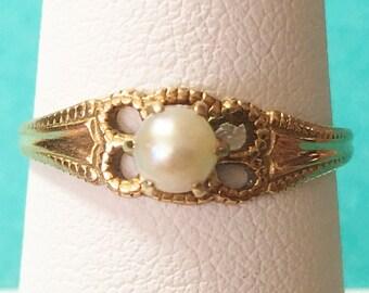 10k yellow gold pearl fillagree ring