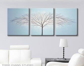 Painting Canvas Art Wall Art Tree of Life Wall Decor Home Decor Light Blue Acrylic Paintings 48x20 Todd Evans Art