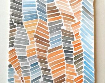 Watercolour painting original, Camel and blue geometric painting, Minimalist Art, Geometric Wall Art, Aquarelle art, Blue gray artwork, R17