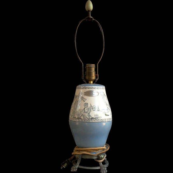 Antique Staffordshire Cherub Lamp, Table Lamp, Blue Transferware, English Staffordshire, Bedroom Lamp, Old English Lamp, Desk Lamp
