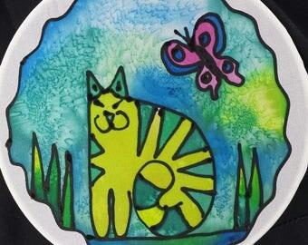 "Kitty cat window ornament, Suncatcher, Original hand painted silk art, 6"" diameter by artist, stained glass look, window art, wall decor"