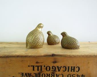 Trio of Brass Quails
