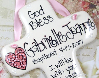 Personalized Girl's Baptism Cross with Heart  'I Will be with You Always'  Matthew 28:20