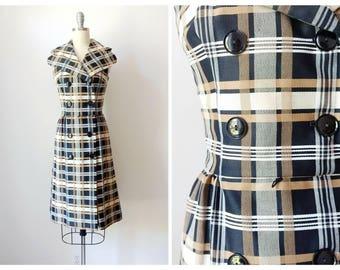 1960s Brown and Black Plaid Day Dress | Vintage 60s Sleeveless Collared Wiggle Dress | Women's Retro Knee Length Sheath Dress