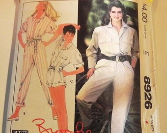 SALE 1980s Jumpsuit Brooke Shields Playsuit Romper pleats back yoke sewing pattern McCalls 8926 Size 14 16 Bust 36 38""
