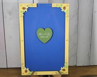 Wedding Guest Book/Top Drop/Alternative/Shadow Box/Drop Frame/Heart/Custom/Sunflower/Fall/Autumn/Top Drop frame/Rustic/Fast Shipping