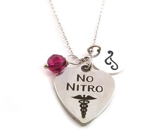No Nitro - Medical Alert Necklace - Birthstone Necklace - Personalized Necklace - Initial Necklace - Sterling Silver Necklace - Gift For Her