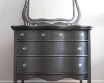 SOLD ***Vintage Sheer Metallic Grey dresser/chest of drawers/small baby changing table