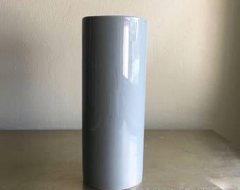 vintage Mikasa porcelain cylinder vase 80s deco gray