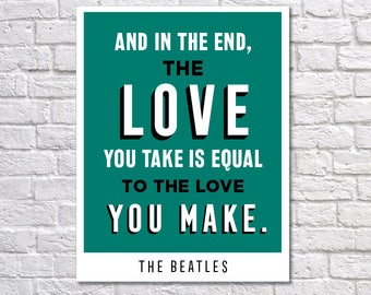 INSTANT DOWNLOAD - The Beatles, Digital Download, Typography Poster, Inspirational Poster, Motivation
