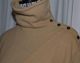 Vintage Paco Rabanne  Dress Camel Wool Long sleeved 1980s