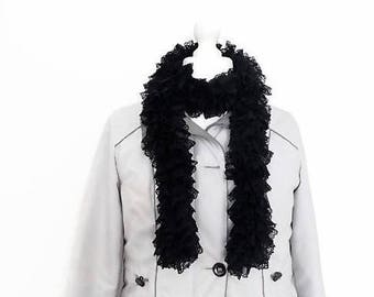 Knit black lace scarf, fashionable scarf, knit ruffle scarf, fancy scarf, scarf for women, frilly scarf, hand knit scarf, knit lace scarf