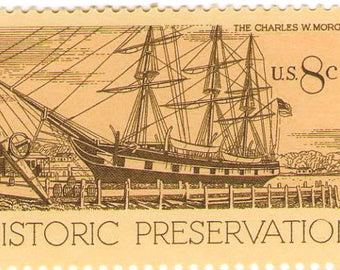 Unused 1971 Charles W. Morgan 19th Century Whaling Ship - Historic Preservation - Vintage Postage Stamps Number 1441