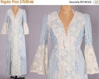 40% SALE 1970s Maxi crochet bell sleeves || Vintage Renaissance gunne sax dress || Boho Festival Dress (small)