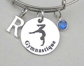 Gymnastique Bangle Bracelet, Charm Bracelet, Personalize, Birthstone, Initial, Gift For Her, Team Gift, Booster Club, Stainless Steel