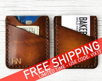 Men's Leather Wallet Gift Personalized BUY IT ONCE - Personalized up to Three Characters, Initials - Durable, Slim, Thin Front Pocket Wallet