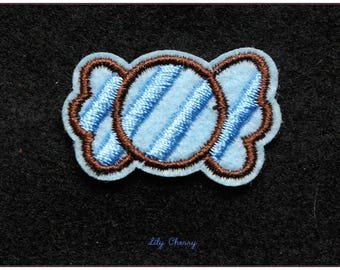 Embroidered patch fusible candy sweet kawaii x 1