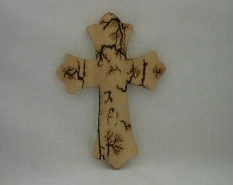 Small White Pine Lichtenberg Fractal Burned Cross  #160