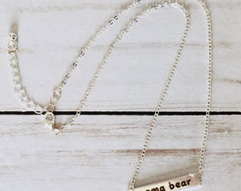 Mama bear bar necklace, gold, silver, rosegold, mom life, Mother's Day gift, the jones house