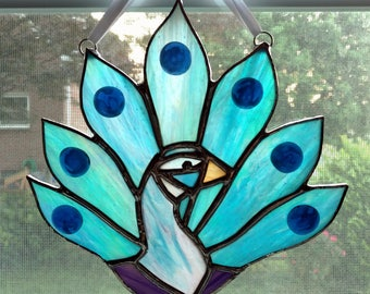 Stained Glass Peacock Suncatcher, Peacock Ornament, Peacock Feather, Blue Peacock Decoration, Bird Lover Gift, Stained Glass Bird, Glass Art
