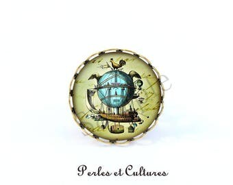 Hot air balloon blue green brown bird Sky vintage fly ღromantique cabochon ring