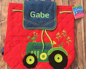 Personalized Tractor Backpack, Embroidered Preschool Backpack, Boys Preschool Backpack, Personalized Farm Birthday Gifts, Stephen Joseph