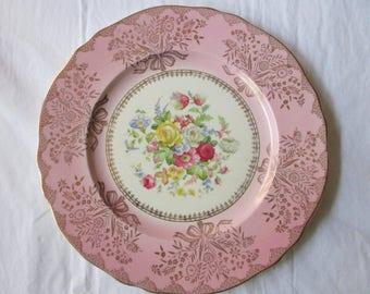 "11"" Steubenville Dinner Plate 2050, Pink Scalloped Rim, Gold Bouquets, Floral Center (c. 1930s)"
