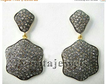 ON SALE 10% OFF Pave Rose Cut Diamond Victorian Style Oxidized Silver Antique Earrings Jewelry